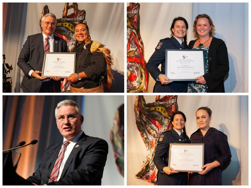 A collage of images of Highly Commended recipietns with Minister Kelvin David and Rachel Leota, Department of Corrections